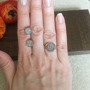 Rose gold tone druzy ring and stud earrings set